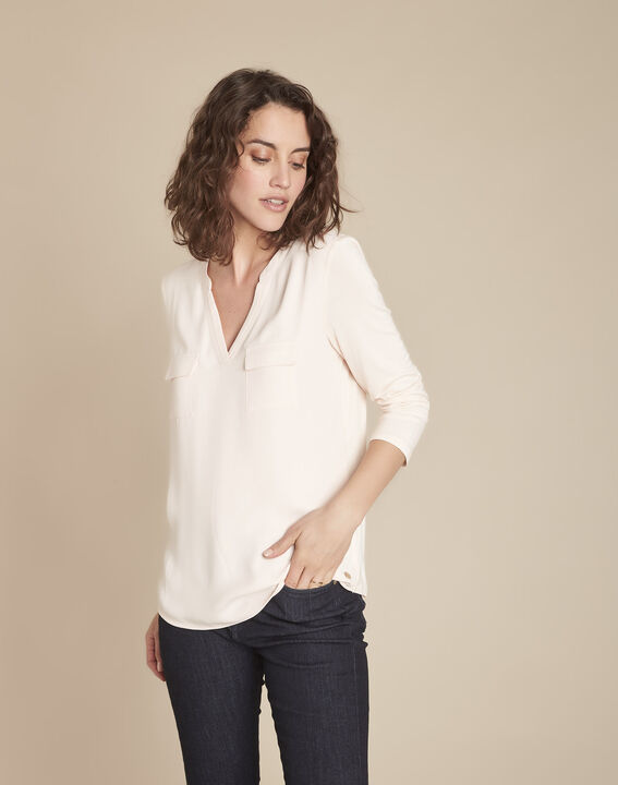 Genna pink V-neck dual-fabric blouse (1) - Maison 123