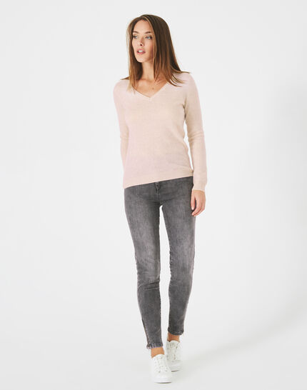 Paquerette powder pink, cashmere sweater with V-neck (3) - 1-2-3