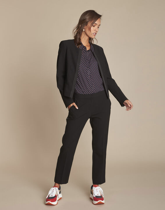 Zwarte broek met zijdelingse band van microvezel Suzanne (2) - Maison 123