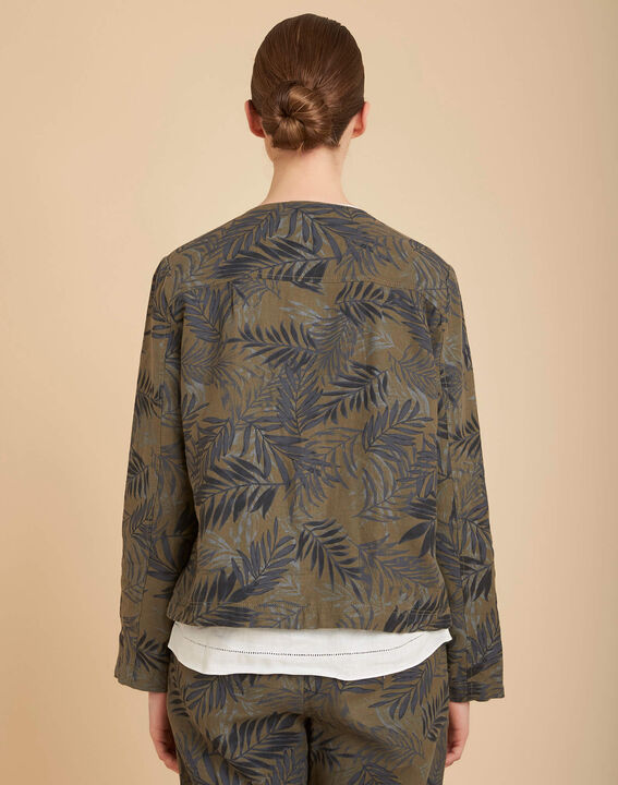 Kurze khakifarbene Jacke mit Palmenprint Fibie (4) - 1-2-3
