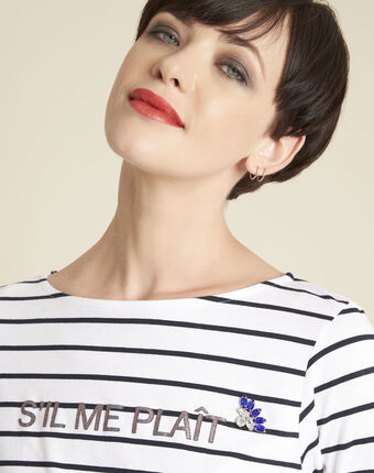 Gaultier white striped t-shirt with text white.