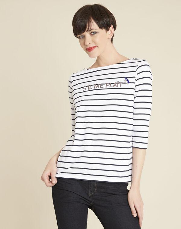 Weißes gestreiftes T-Shirt mit Message Gaultier (1) - 1-2-3