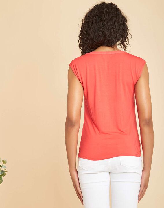 Tee-shirt corail bimatière manches courtes col résille Bianca (4) - 1-2-3
