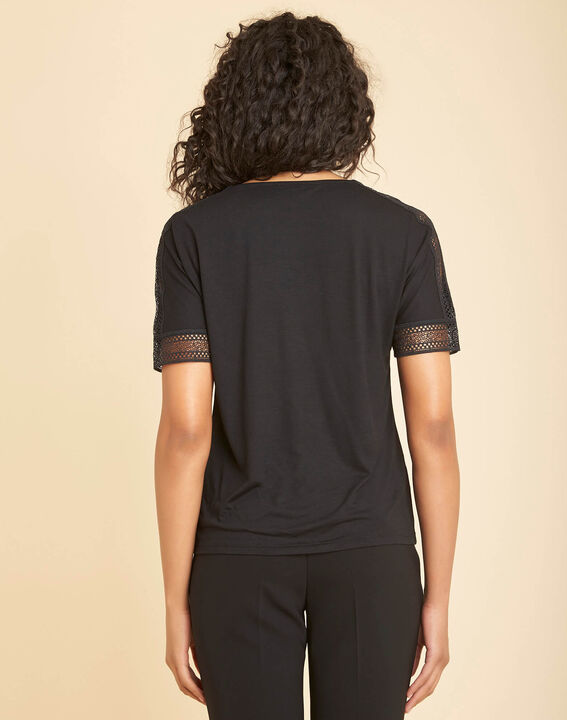 Estelle black guipure T-shirt with V-neck (4) - 1-2-3