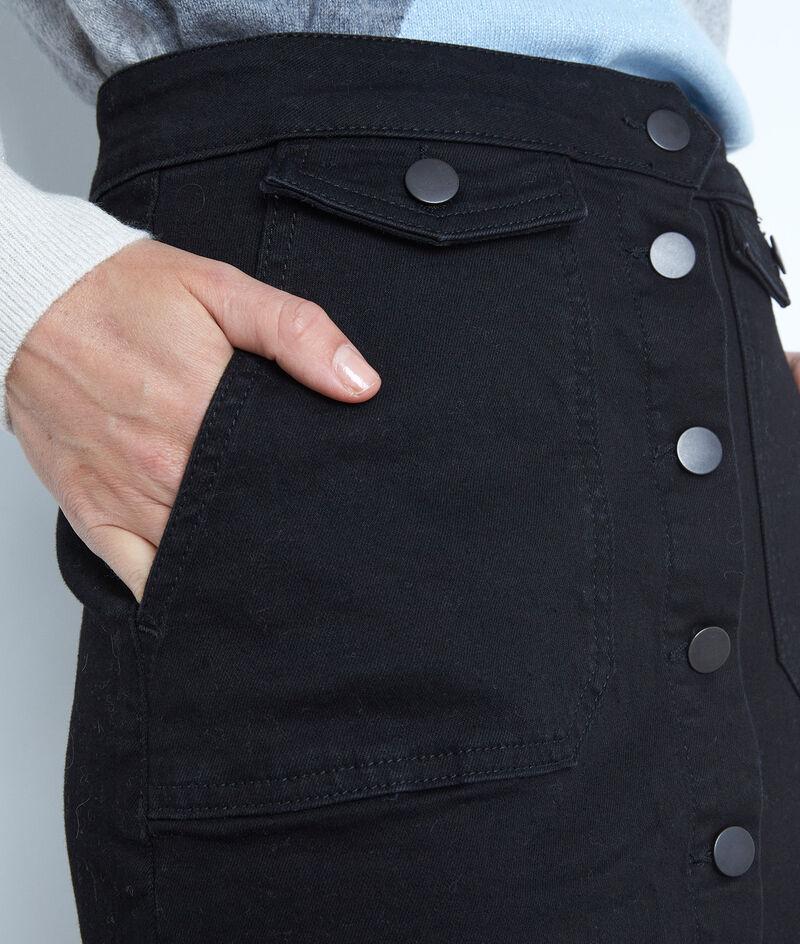 Jupe boutonnée en coton noire Ambre PhotoZ | 1-2-3