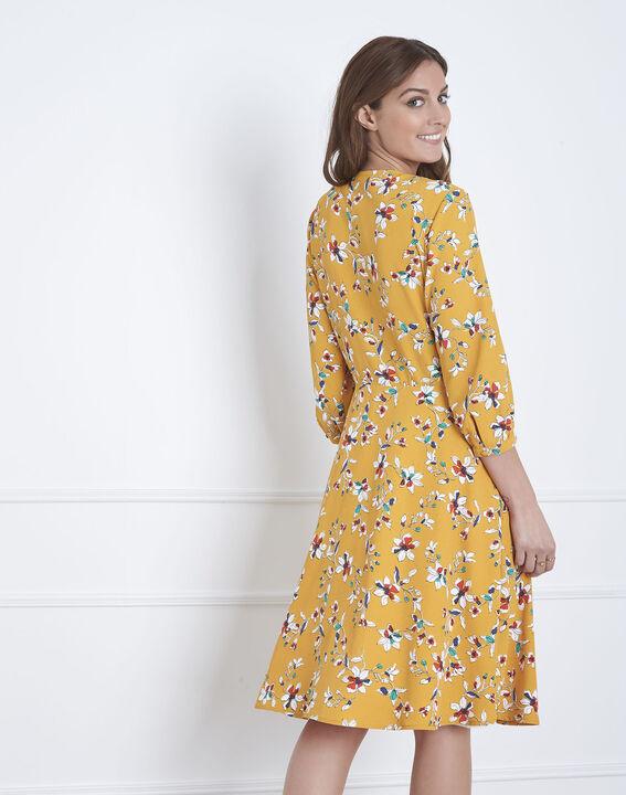 Robe jaune imprimé fleuri portefeuille Laurene (5) - Maison 123