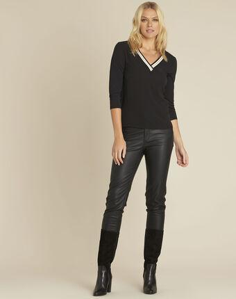 Clare black bi-material blouse with v-neck black.