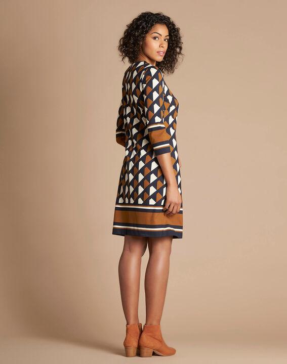 Camelfarbenes grafisches Kleid Delila (3) - 1-2-3