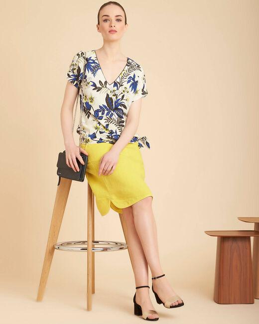Lumio yellow linen skirt with tie (2) - 1-2-3