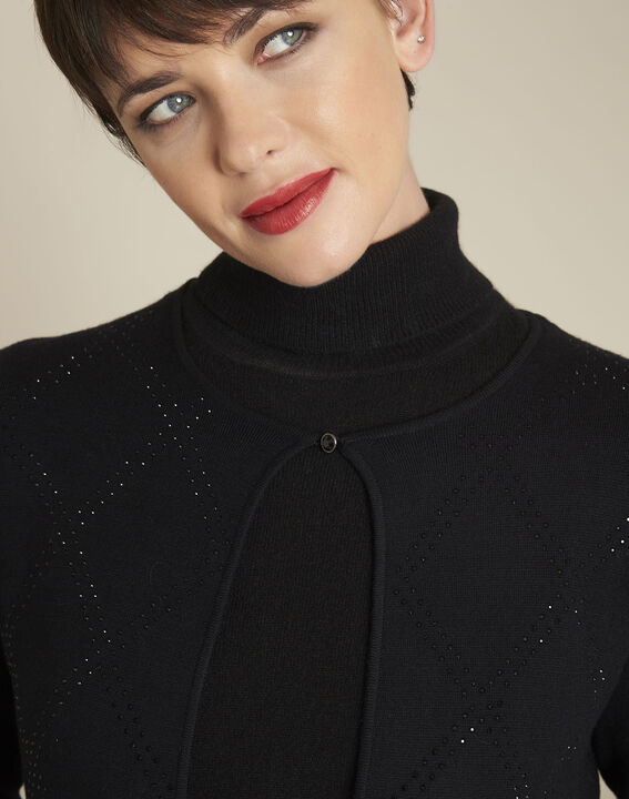 Brilliant black rhinestone bolero with jewel fastening (3) - Maison 123