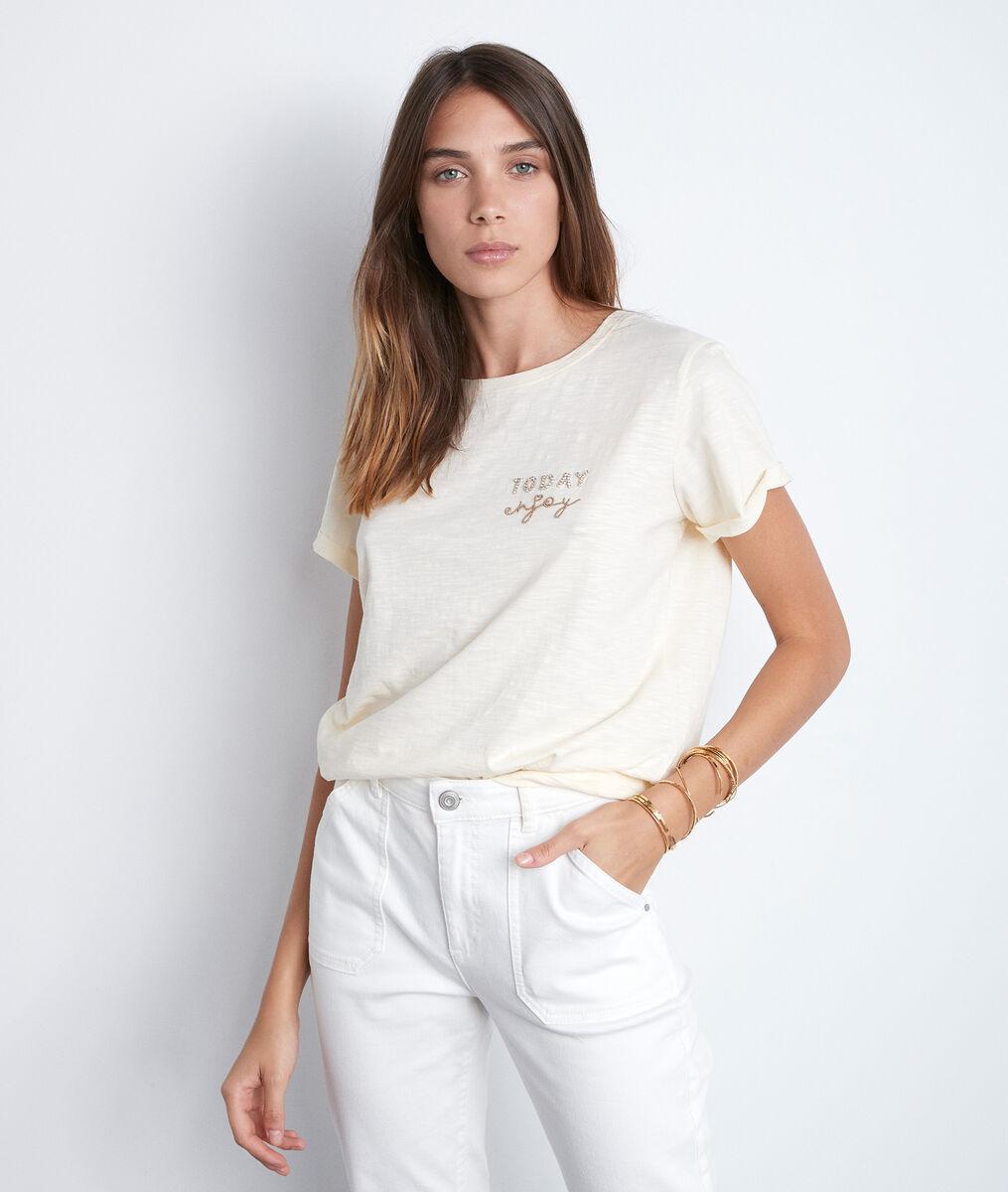 Vanillekleurig T-shirt met opschrift met strassteentjes Ipso PhotoZ | 1-2-3
