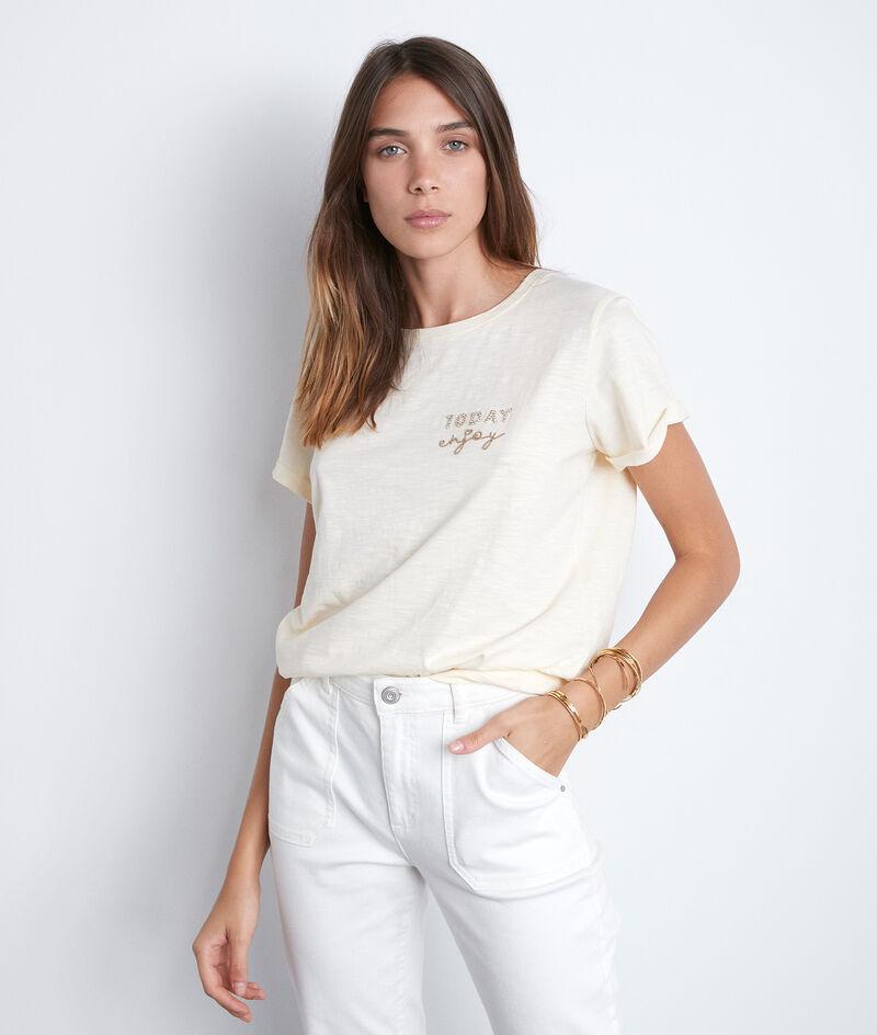 Tee-shirt vanille à message strassé Ipso PhotoZ   1-2-3