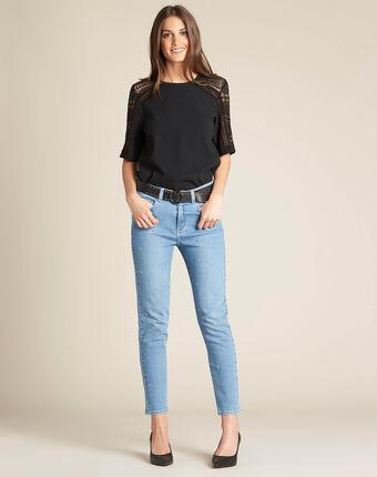 Slim fit jeans met zilverkleurige ringetjes vendôme indigo clair.
