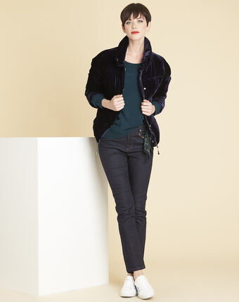 Pam navy quilted jacket in velour royal blue.