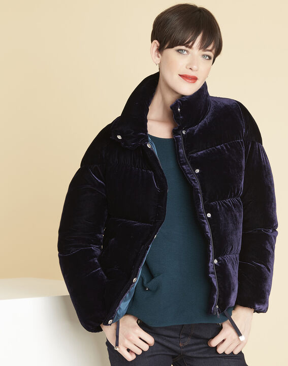 Pam navy quilted jacket in velour (1) - Maison 123