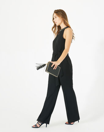 Carly black jumpsuit with swarovski-embellished neckline black.