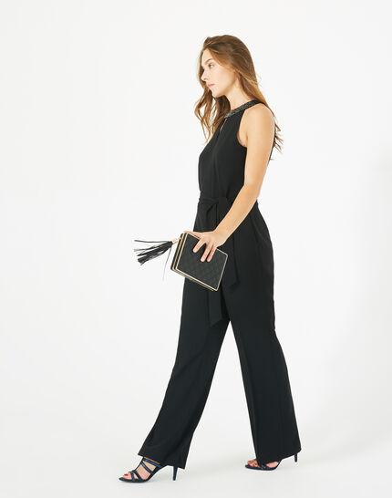 Carly black jumpsuit with Swarovski-embellished neckline (1) - 1-2-3
