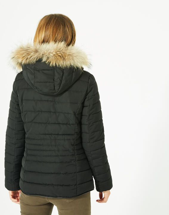 Rosie short black puffer jacket with a hood  (4) - 1-2-3