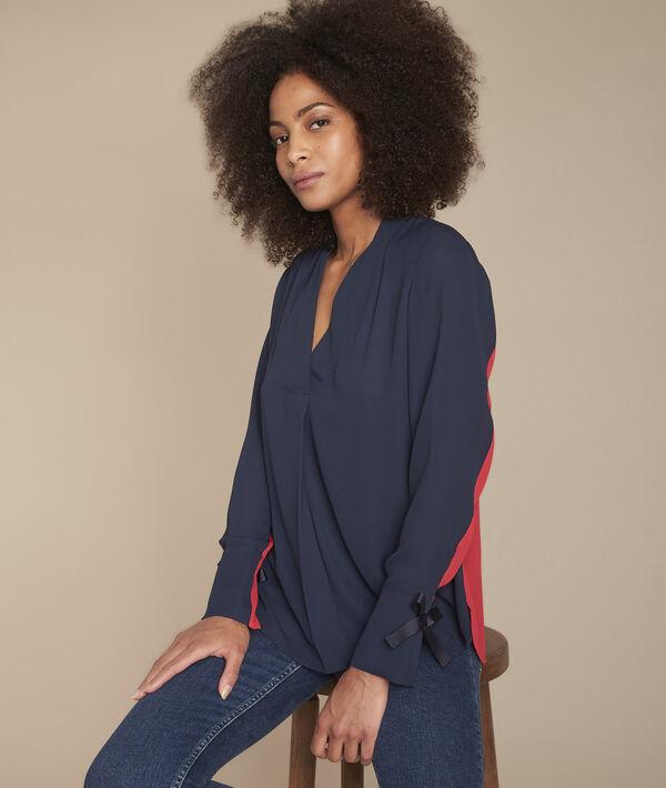 Zweifarbige marineblaue Bluse mit Ösen an Manschetten Marinette PhotoZ | 1-2-3