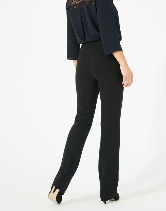 Pantalon noir droit en microfibre Vasco (5) - 1-2-3