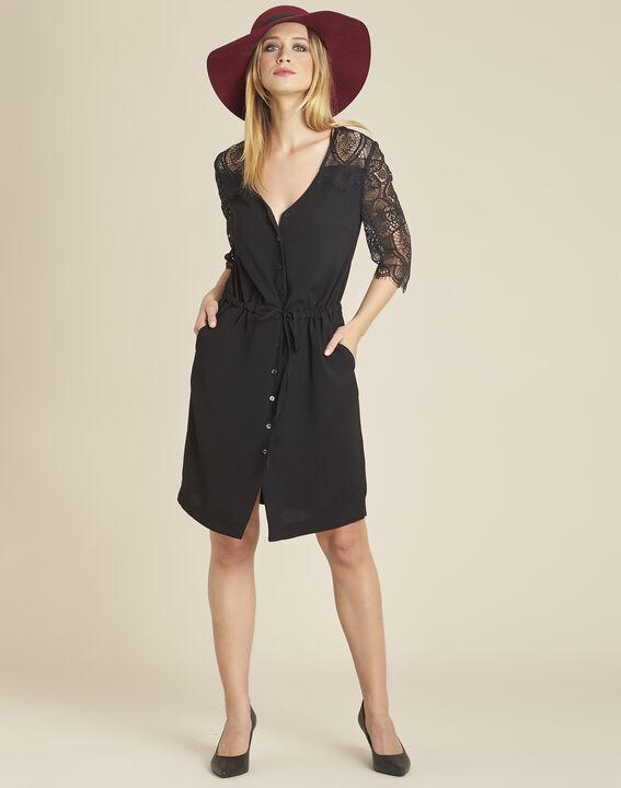Zwarte jurk uit twee stoffen met mouwen van kant Dune (2) - 37653