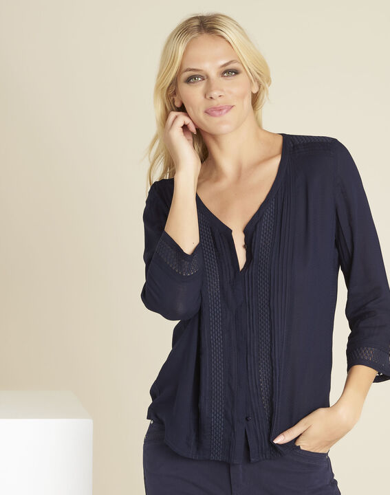 Cassandra navy blue blouse with lace insert (1) - 1-2-3