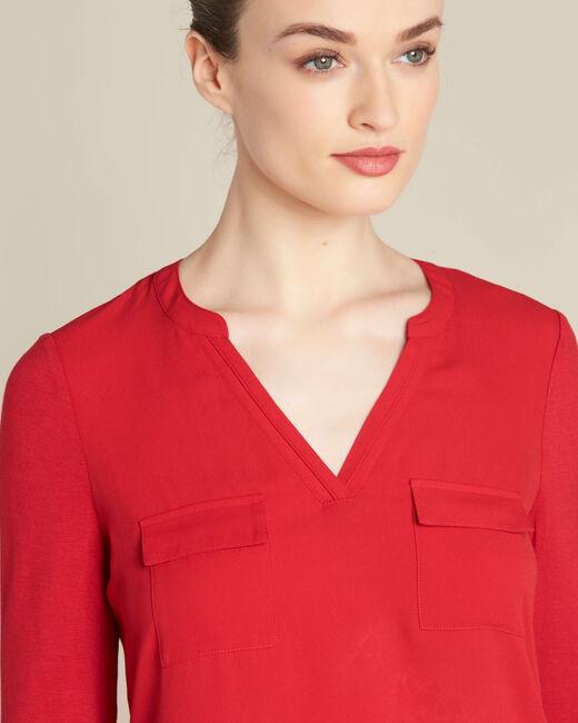 Blouse rouge bi-matière à poches Genna (2) - 1-2-3