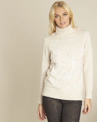 Bloom cream turtleneck pullover with embroidery beige.