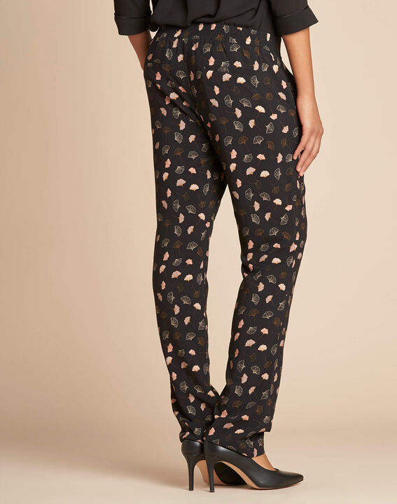Ginko black foliage-print trousers (3) - 1-2-3