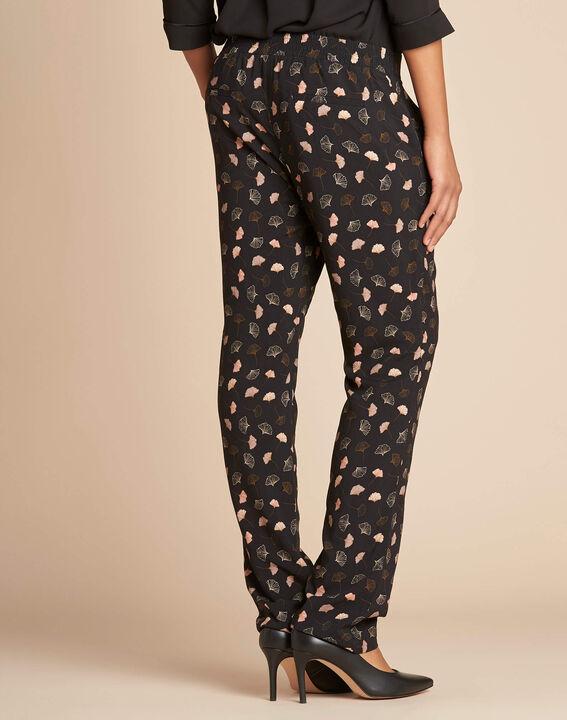 Pantalon noir imprimé feuillage Ginko (3) - 1-2-3