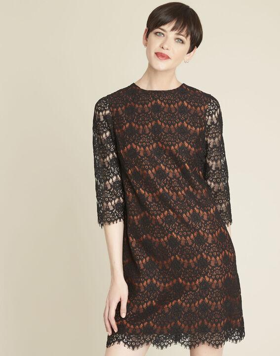 Zwarte kanten jurk met oranje basis PhotoZ | 1-2-3