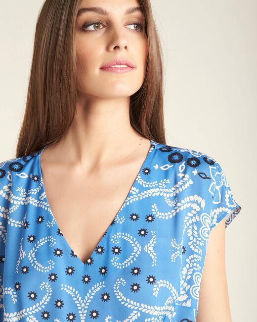 Robe bleu ciel imprimé fleuri ceinturée Pauline (2) - 1-2-3