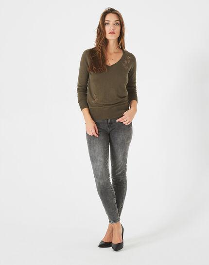 Planète khaki sweater with V-neck and diamante PhotoZ | 1-2-3