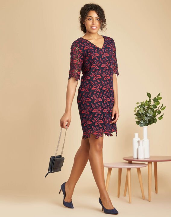 Indy navy blue dress in floral guipure (3) - 1-2-3