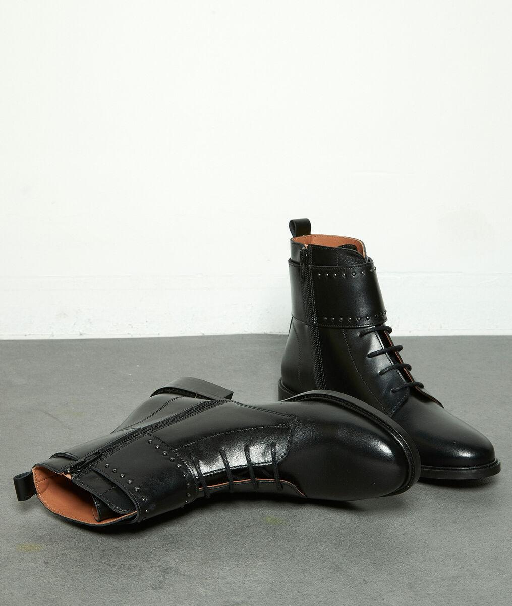 Boots rangers en cuir clouté noir Holy PhotoZ | 1-2-3