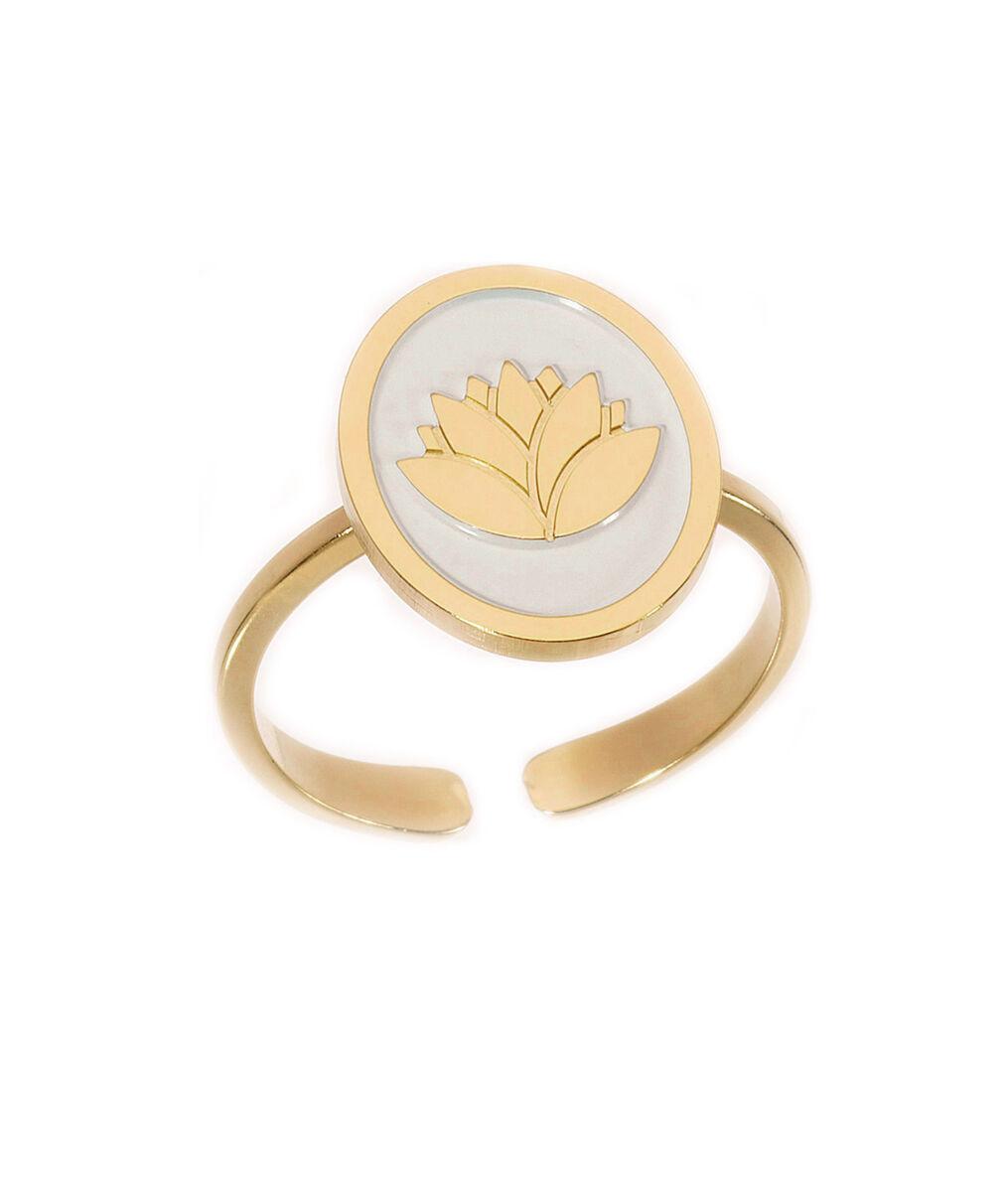 Bague médaille laquée lotus ivoire or Bijoux Léone PhotoZ | 1-2-3