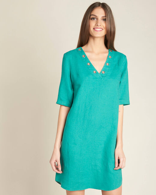 Pavot blue linen dress (2) - 1-2-3