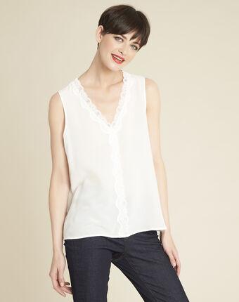 Clelia ecru silk top with rounded neckline ecru.