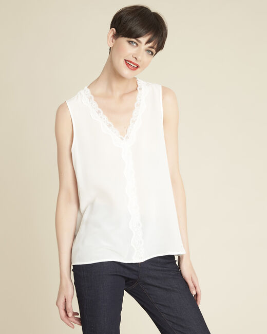 Clelia ecru silk top with rounded neckline (2) - 1-2-3