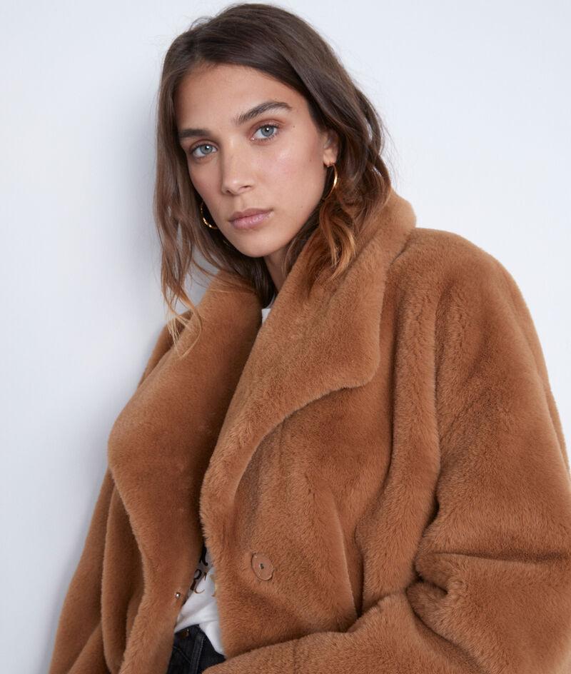 Manteau court en fausse fourrure camel Lauren PhotoZ | 1-2-3