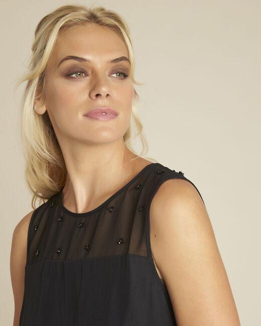 Robe noire encolure brodée résille Norma (1) - 1-2-3