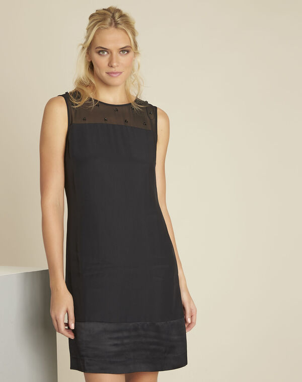 Norma black dress with net and embroidered neckline (1) - 1-2-3
