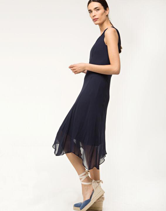 Robe bleue mi-longue en soie Foret (3) - 1-2-3