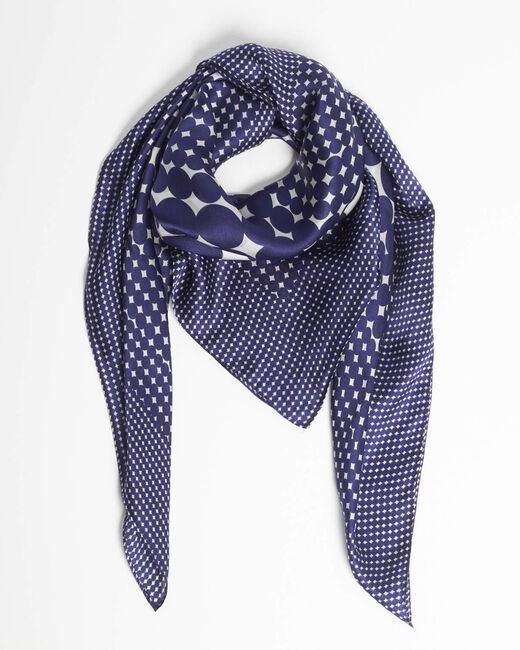 Anae geometric blue silk square scarf (2) - 1-2-3