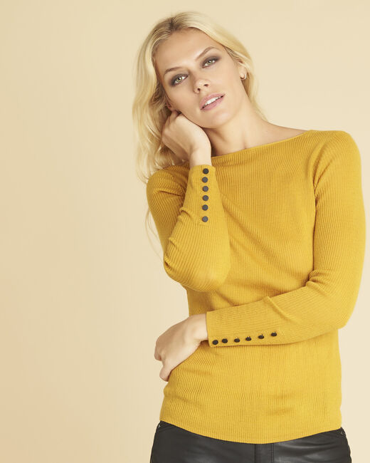 Bassus ochre fine-knit sweater with buttoned sleeves (2) - 1-2-3