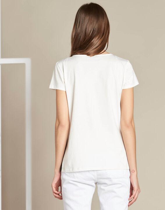 Echelle ecru block colour T-shirt with openwork detailing (4) - 1-2-3