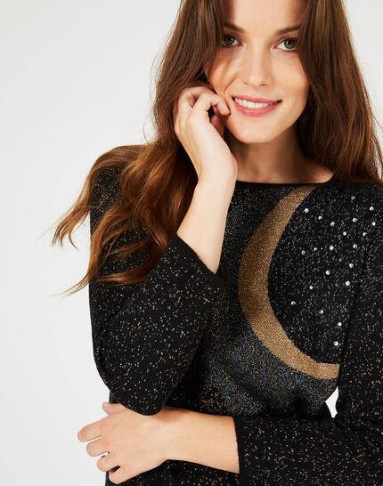 Prusse Black jacquard sweater adorned with Swarovski crystals (2) - 1-2-3