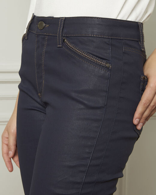 Opera navy blue 7/8 length coated jeans (2) - 1-2-3