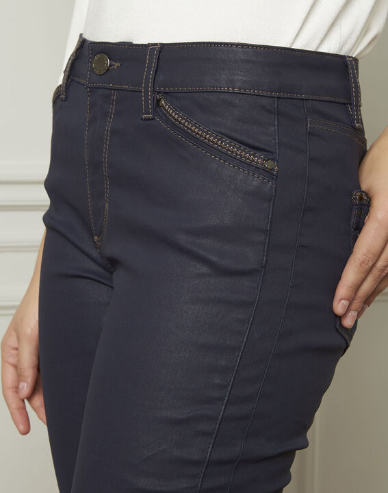 Opera navy blue 7/8 length coated jeans (4) - 1-2-3