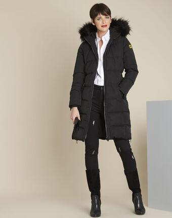 Doudoune noire longue capuche pipa noir.
